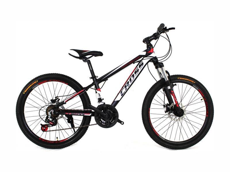 Велосипед Cross Hunter 24 черный с бело красными вставками