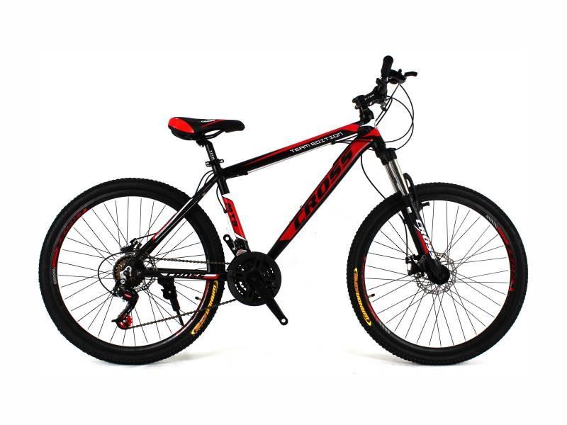 Велосипед Cross Hunter 26 черный с красно белыми вставками