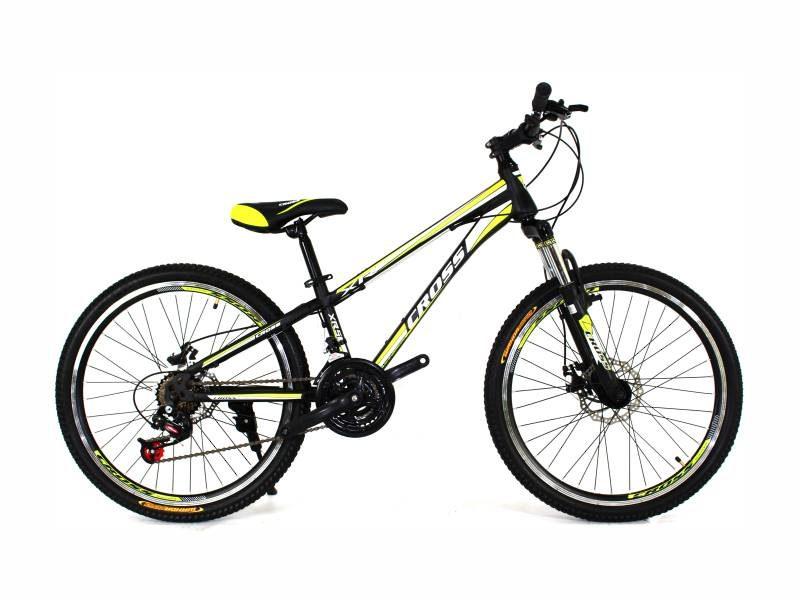 Велосипед Cross Racer 24 черный со светло зелеными вставками