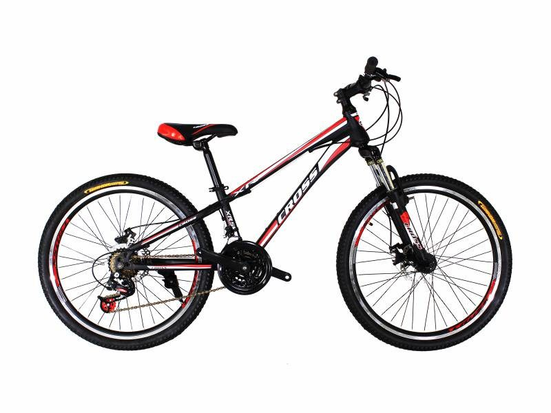 Велосипед Cross Racer 24 черный с красно белыми вставками