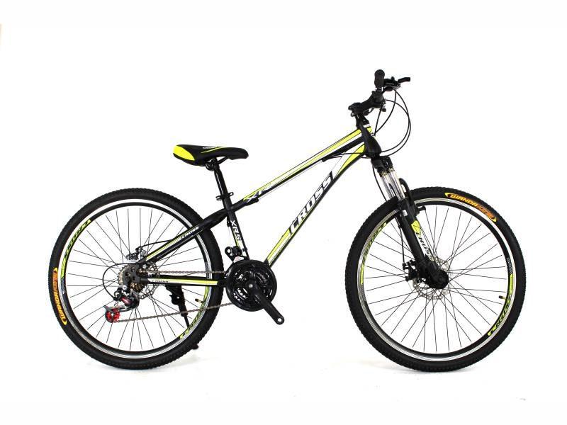 Велосипед Cross Racer 26 черный со светло зелеными вставками