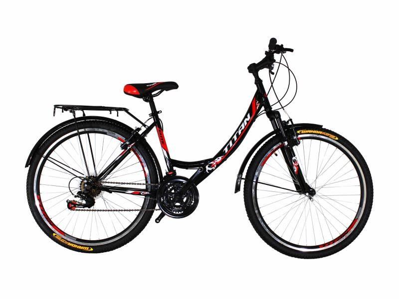 Велосипед Titan Elite 26 черный с красно белыми вставками 1
