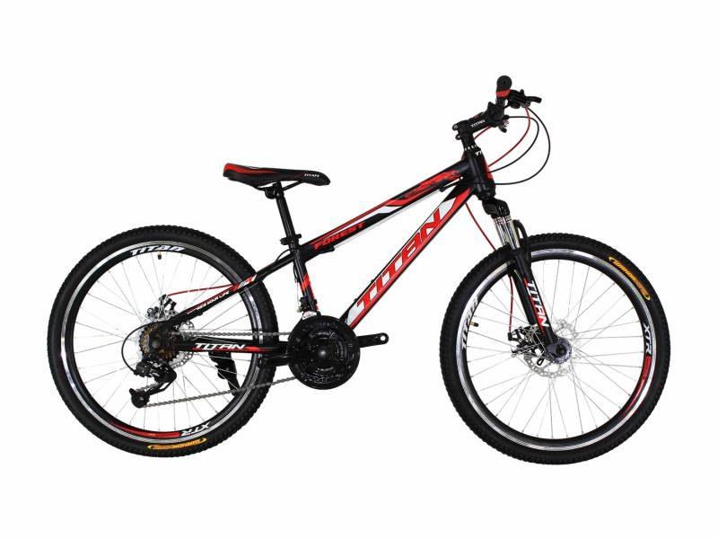 Велосипед Titan Forest 24 черный с красно-белыми вставками
